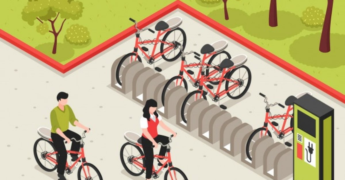 eco-transport-isometric-poster-illustrated-electric-bicycle-charging-station-with-bikes-standing-parking_1284-26727
