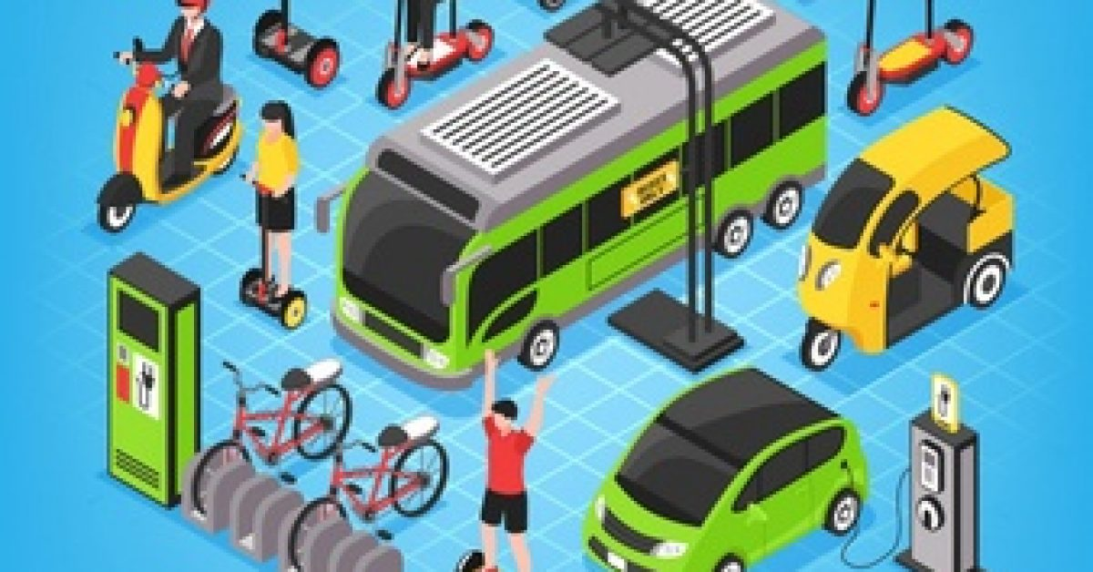 eco-transport-isometric-with-city-bus-electric-cars-bicycle-parking-people-riding-gyro-scooter_1284-26729